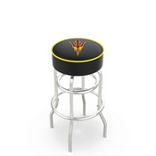 L7C1 - 4 Arizona State Cushion Seat with Double-Ring Chrome Base Swivel Bar Stool and Pitchfork Logo by Holland Bar Stool Company