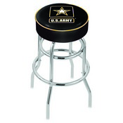L7C1 - 4 U.S. Army Cushion Seat with Double-Ring Chrome Base Swivel Bar Stool by Holland Bar Stool Company