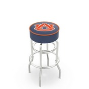 L7C1 - 4 Auburn Cushion Seat with Double-Ring Chrome Base Swivel Bar Stool by Holland Bar Stool Company