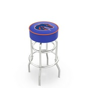 L7C1 - 4 Boise State Cushion Seat with Double-Ring Chrome Base Swivel Bar Stool by Holland Bar Stool Company