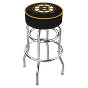 L7C1 - 4 Boston Bruins Cushion Seat with Double-Ring Chrome Base Swivel Bar Stool by Holland Bar Stool Company