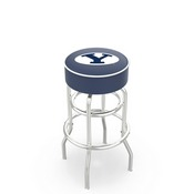 L7C1 - 4 Brigham Young Cushion Seat with Double-Ring Chrome Base Swivel Bar Stool by Holland Bar Stool Company