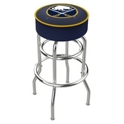 L7C1 - 4 Buffalo Sabres Cushion Seat with Double-Ring Chrome Base Swivel Bar Stool by Holland Bar Stool Company