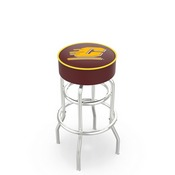 L7C1 - 4 Central Michigan Cushion Seat with Double-Ring Chrome Base Swivel Bar Stool by Holland Bar Stool Company