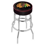 L7C1 - 4 Chicago Blackhawks Cushion Seat with Double-Ring Chrome Base Swivel Bar Stool by Holland Bar Stool Company
