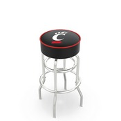 L7C1 - 4 Cincinnati Cushion Seat with Double-Ring Chrome Base Swivel Bar Stool by Holland Bar Stool Company