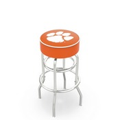 L7C1 - 4 Clemson Cushion Seat with Double-Ring Chrome Base Swivel Bar Stool by Holland Bar Stool Company