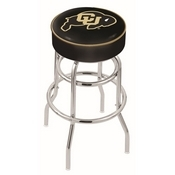 L7C1 - 4 Colorado Cushion Seat with Double-Ring Chrome Base Swivel Bar Stool by Holland Bar Stool Company