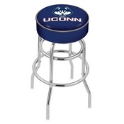 L7C1 - 4 Connecticut Cushion Seat with Double-Ring Chrome Base Swivel Bar Stool by Holland Bar Stool Company