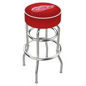 L7C1 - 4 Detroit Red Wings Cushion Seat with Double-Ring Chrome Base Swivel Bar Stool by Holland Bar Stool Company