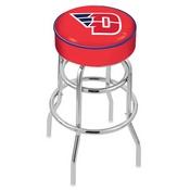 L7C1 - 4 University of Dayton Cushion Seat with Double-Ring Chrome Base Swivel Bar Stool by Holland Bar Stool Company