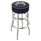 L7C1 - 4 Edmonton Oilers Cushion Seat with Double-Ring Chrome Base Swivel Bar Stool by Holland Bar Stool Company