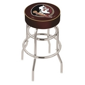 L7C1 - 4 Florida State (Head) Cushion Seat with Double-Ring Chrome Base Swivel Bar Stool by Holland Bar Stool Company