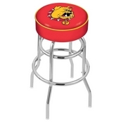 L7C1 - 4 Ferris State Cushion Seat with Double-Ring Chrome Base Swivel Bar Stool by Holland Bar Stool Company