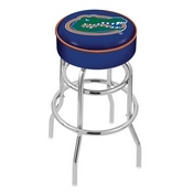 L7C1 - 4 Florida Cushion Seat with Double-Ring Chrome Base Swivel Bar Stool by Holland Bar Stool Company