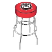 L7C1 - 4 Georgia Bulldog Cushion Seat with Double-Ring Chrome Base Swivel Bar Stool by Holland Bar Stool Company