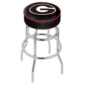 L7C1 - 4 Georgia G Cushion Seat with Double-Ring Chrome Base Swivel Bar Stool by Holland Bar Stool Company