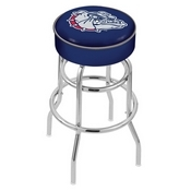 L7C1 - 4 Gonzaga Cushion Seat with Double-Ring Chrome Base Swivel Bar Stool by Holland Bar Stool Company