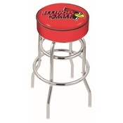 L7C1 - 4 Illinois State Cushion Seat with Double-Ring Chrome Base Swivel Bar Stool by Holland Bar Stool Company
