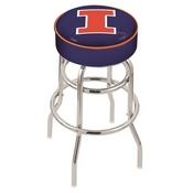 L7C1 - 4 Illinois Cushion Seat with Double-Ring Chrome Base Swivel Bar Stool by Holland Bar Stool Company