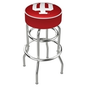 L7C1 - 4 Indiana Cushion Seat with Double-Ring Chrome Base Swivel Bar Stool by Holland Bar Stool Company