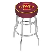 L7C1 - 4 Iowa State Cushion Seat with Double-Ring Chrome Base Swivel Bar Stool by Holland Bar Stool Company
