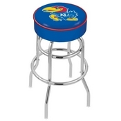 L7C1 - 4 Kansas Cushion Seat with Double-Ring Chrome Base Swivel Bar Stool by Holland Bar Stool Company