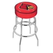 L7C1 - 4 Louisville Cushion Seat with Double-Ring Chrome Base Swivel Bar Stool by Holland Bar Stool Company