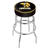 L7C1 - 4 Missouri Western State Cushion Seat with Double-Ring Chrome Base Swivel Bar Stool by Holland Bar Stool Company