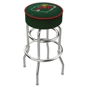 L7C1 - 4 Minnesota Wild Cushion Seat with Double-Ring Chrome Base Swivel Bar Stool by Holland Bar Stool Company