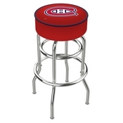 L7C1 - 4 Montreal Canadiens Cushion Seat with Double-Ring Chrome Base Swivel Bar Stool by Holland Bar Stool Company