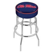 L7C1 - 4 Ole' Miss Cushion Seat with Double-Ring Chrome Base Swivel Bar Stool by Holland Bar Stool Company