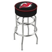 L7C1 - 4 New Jersey Devils Cushion Seat with Double-Ring Chrome Base Swivel Bar Stool by Holland Bar Stool Company
