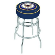 L7C1 - 4 U.S. Navy Cushion Seat with Double-Ring Chrome Base Swivel Bar Stool by Holland Bar Stool Company