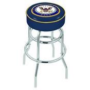 L7C1 - 4 U.S. Navy Cushion Seat with Double-Ring Chrome Base Swivel Bar Stool by Holland Bar Stool Company