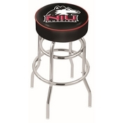 L7C1 - 4 Northern Illinois Cushion Seat with Double-Ring Chrome Base Swivel Bar Stool by Holland Bar Stool Company