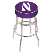 L7C1 - 4 Northwestern Cushion Seat with Double-Ring Chrome Base Swivel Bar Stool by Holland Bar Stool Company