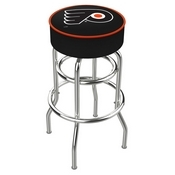L7C1 - 4 Philadelphia Flyers Cushion Seat with Double-Ring Chrome Base Swivel Bar Stool by Holland Bar Stool Company