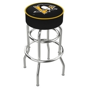 L7C1 - 4 Pittsburgh Penguins Cushion Seat with Double-Ring Chrome Base Swivel Bar Stool by Holland Bar Stool Company