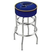 L7C1 - 4 St Louis Blues Cushion Seat with Double-Ring Chrome Base Swivel Bar Stool by Holland Bar Stool Company