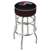L7C1 - 4 Southern Illinois Cushion Seat with Double-Ring Chrome Base Swivel Bar Stool by Holland Bar Stool Company
