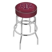 L7C1 - 4 Texas A&M Cushion Seat with Double-Ring Chrome Base Swivel Bar Stool by Holland Bar Stool Company
