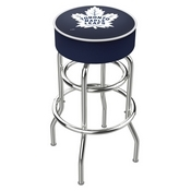 L7C1 - 4 Toronto Maple Leafs Cushion Seat with Double-Ring Chrome Base Swivel Bar Stool by Holland Bar Stool Company