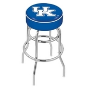L7C1 - 4 Kentucky UK Cushion Seat with Double-Ring Chrome Base Swivel Bar Stool by Holland Bar Stool Company