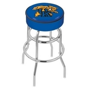 L7C1 - 4 Kentucky Wildcat Cushion Seat with Double-Ring Chrome Base Swivel Bar Stool by Holland Bar Stool Company