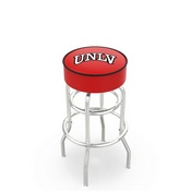 L7C1 - 4 UNLV Cushion Seat with Double-Ring Chrome Base Swivel Bar Stool by Holland Bar Stool Company