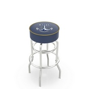 L7C1 - 4 US Naval Academy (NAVY) Cushion Seat with Double-Ring Chrome Base Swivel Bar Stool by Holland Bar Stool Company