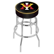 L7C1 - 4 Virginia Military Institute Cushion Seat with Double-Ring Chrome Base Swivel Bar Stool by Holland Bar Stool Company