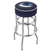 L7C1 - 4 Vancouver Canucks Cushion Seat with Double-Ring Chrome Base Swivel Bar Stool by Holland Bar Stool Company