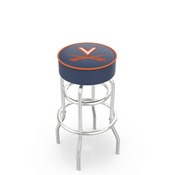 L7C1 - 4 Virginia Cushion Seat with Double-Ring Chrome Base Swivel Bar Stool by Holland Bar Stool Company